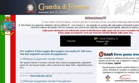 "Bloccare sul nascere ""Virus Polizia Postale - Guardia di Finanza"" su windows 7"